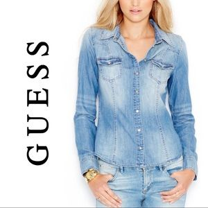 Guess Denim Snap Front Long Sleeve Collared Shirt